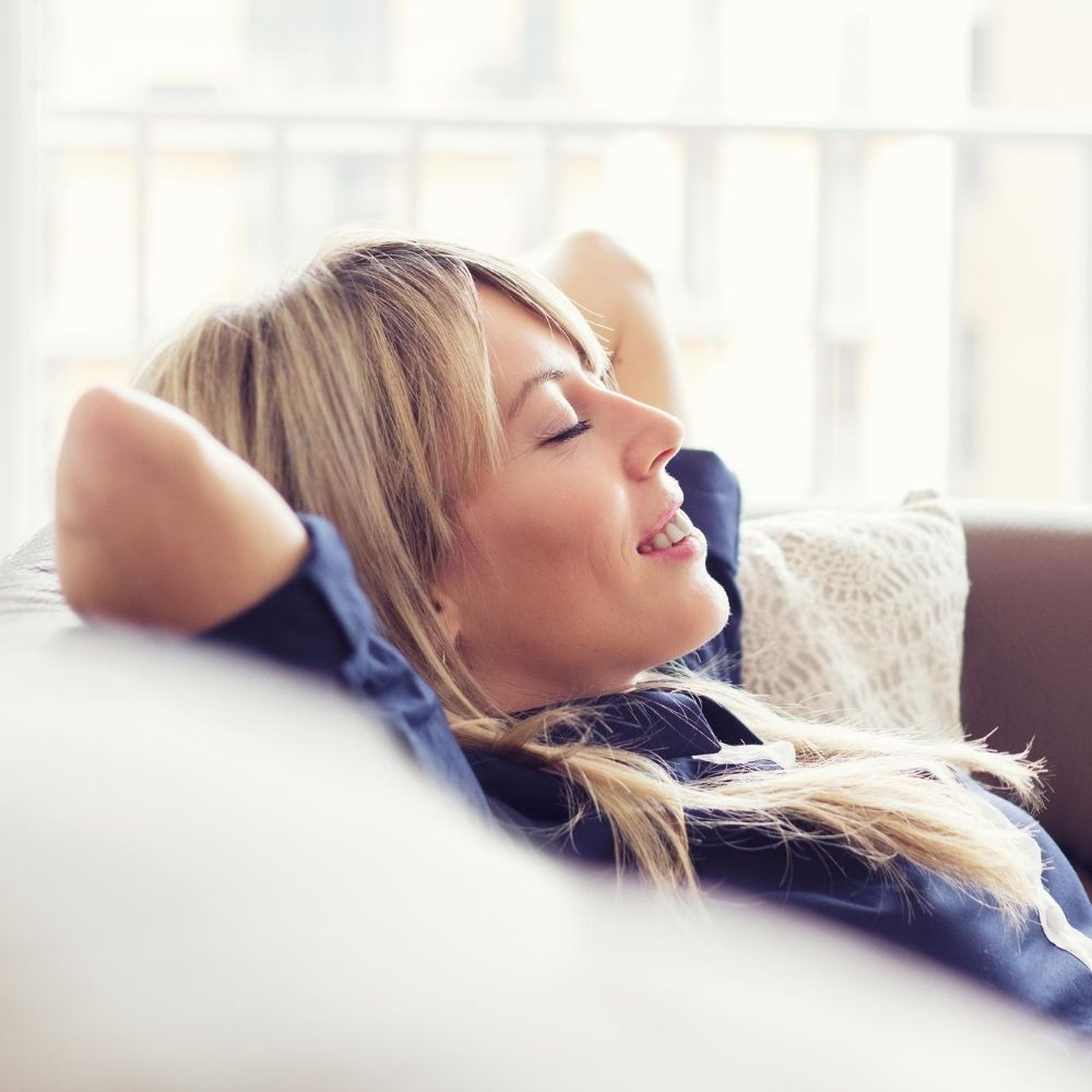 woman relaxing after hemp