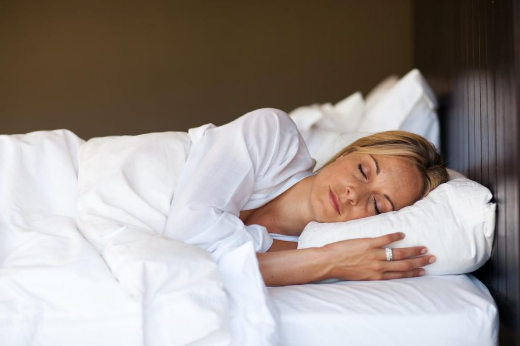 woman sleeping and resting after hoopla sleep